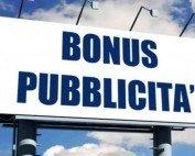 Bonus pubblicità: domande da presentate a decorrere dal 1 al 31 ottobre 2019